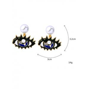 Artificial Diamond Detachable Pearl Eye Stud Earrings -