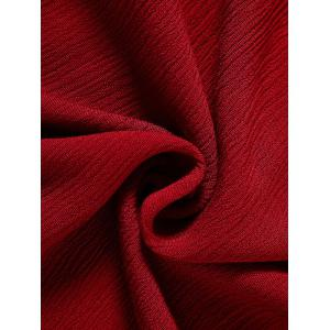 Hollow Out High Waist Tied-Up Chiffon Dress - WINE RED L