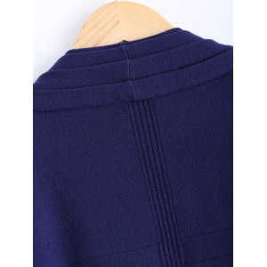 Collarless Ribbed Pleated Cardigan -