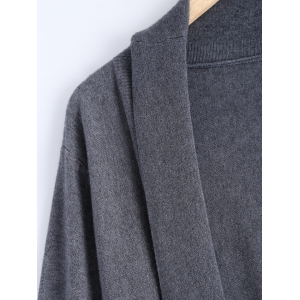 Shawl Collar Ruched Loose-Fitting Cardigan -