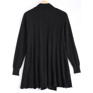 Ribbed Ruched Loose-Fitting Cardigan -