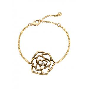 Adjustable Metal Flower Filigree Charm Bracelet -