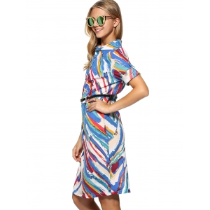 Knee Length Belted Print Dress -
