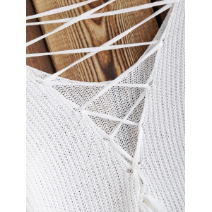 Lace-Up Asymmetrical Hollow Out Knitwear -