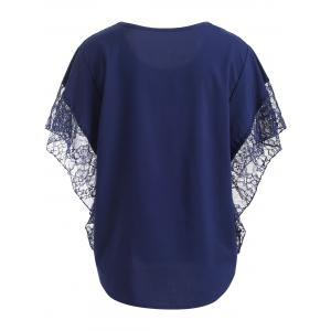 Loose Lace Splice Hollow Out Blouse -