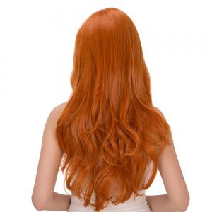 Long Fluffy Wavy Oblique Bang Synthetic Cosplay Lolita Wig - PURE ORANGE