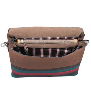 Colour Block Striped Pattern Textured Leather Crossbody Bag -