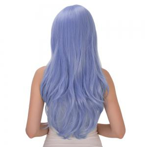 Long Wavy Inclined Bang Tail Adduction Lolita Synthetic Wig - ICE BLUE