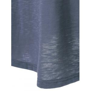 Lace Splicing Pleated T-Shirt - BLUE GRAY XL