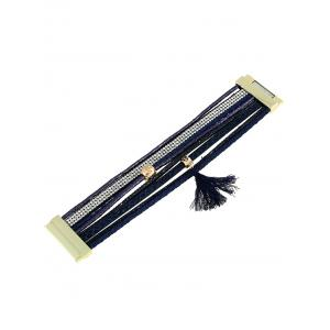 Faux Leather Rhinestone Tassel Layered Bracelet - DEEP BLUE