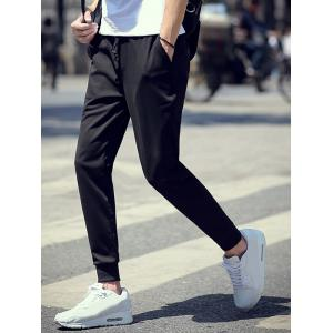 Brief Style Drawstring Waist Skinny Jogger Pants - BLACK 4XL