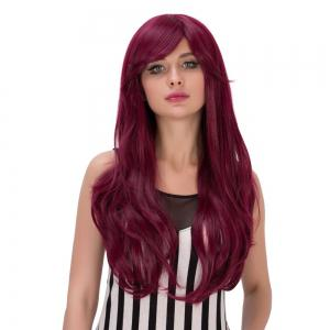 Long Fluffy Wavy Tail Adduction Oblique Bang Lolita Wig - RED VIOLET