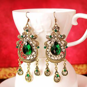 Teardrop Faux Crystal Drop Earrings -