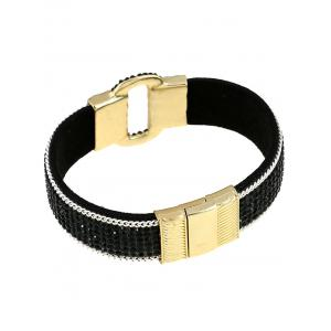 Rhinestone Faux Leather Alloy Bracelet - BLACK