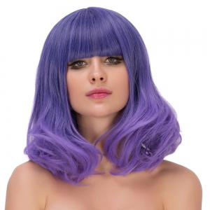 Medium Neat Bang Wavy Ombre Tail Adduction Lolita Cosplay Wig - PURPLE