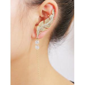 Leaf Rhinestone Chain Drop Ear Cuff - GOLDEN