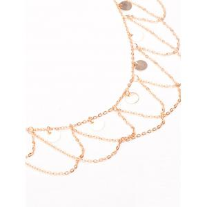 Round Belly Chain Paillettes Vague Tassel - Or