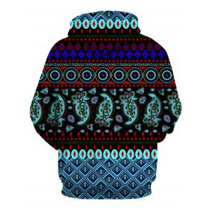 Hooded 3D Ethnic Style Geometric Print Long Sleeve Hoodie -