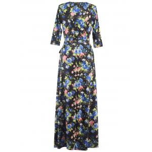 Floral Print Tied Belted Surplice Maxi Dress -