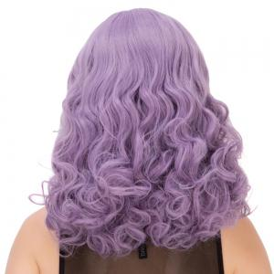 Long Fluffy Curly Oblique Bang Synthetic Lolita Wig -