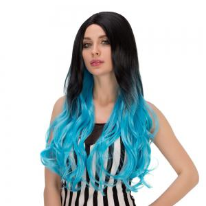 Long Centre Parting Wavy Ombre Synthetic Lolita Wig - BLUE AND BLACK