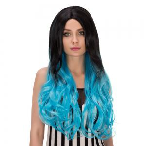 Long Centre Parting Wavy Ombre Synthetic Lolita Wig - BLUE/BLACK