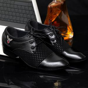 Tie Up Splicing Metal Formal Shoes - BLACK 43