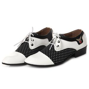 Tie Up Splicing Metal Formal Shoes - WHITE AND BLACK 42