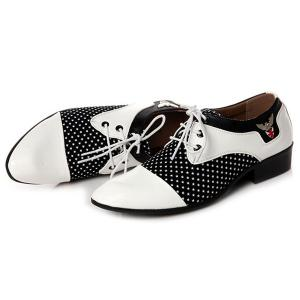 Tie Up Splicing Métal Formal Shoes - Blanc et Noir 44
