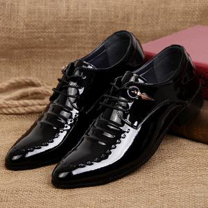 Metal Patent Leather Lace Up Formal Shoes - BLACK 41