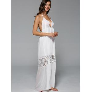 Halter Backless Lace Spliced Maxi Dress -