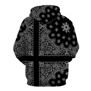 Hooded Paisley and Floral Printed Long Sleeve Hoodie -