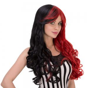 Long Shaggy Wavy Colormix Oblique Bang Synthetic Lolita Wig -