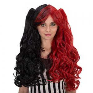 Long Wavy Oblique Bang Colormix Synthetic Lolita Wig with Bunches -