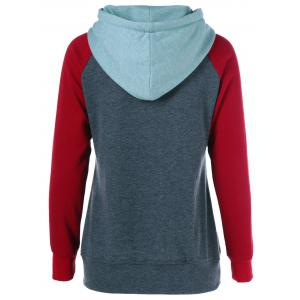 Raglan Sleeve Big Pocket Drawstring Hoodie -