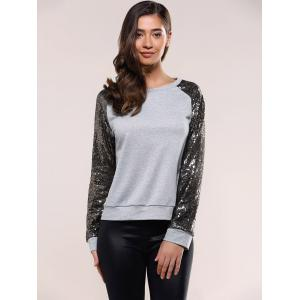Sequins Raglan Sleeve Sweatshirt -