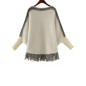 Batwing Sleeve Jacquard Cape Sweater -