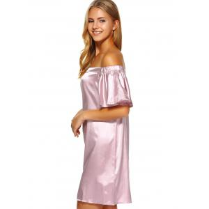 Off Shoulder Flounce Mini Satin Cocktail Dress -