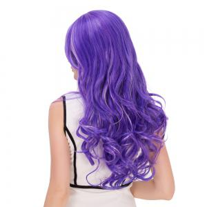 Ombre Highlight Oblique Bang Long Fluffy Wavy Lolita Wig - COLORMIX