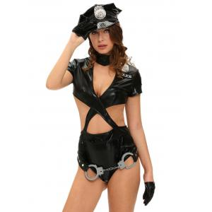 Hooded Policewoman Cosplay Halloween Costume -