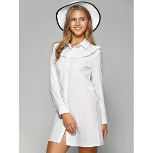 Long Sleeve Agaric Edge Mini Button Up Shirt Dress -