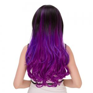 Long Ombre Wavy Centre Parting Synthetic Lolita Wig - BLACK/PURPLE