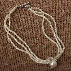 Faux Pearl Layered Beaded Necklace -