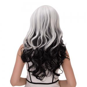 Long Ombre Inclined Bang Wavy Synthetic Lolita Wig - WHITE/BLACK