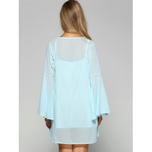 Mini Chiffon Flare Long Sleeve Swing Tunic Dress - LIGHT BLUE XL