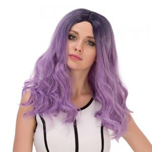 Long Ombre Centre Parting Wavy Synthetic Lolita Wig - BLACK/PURPLE