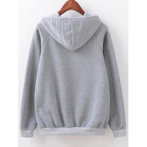 Cartoon Letter Print Hoodie - GRAY L