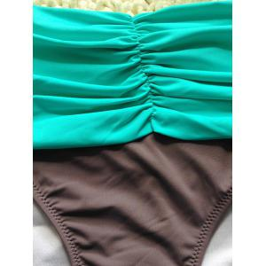 Color Spliced Ruched Bikini Set - LIGHT GREEN XL