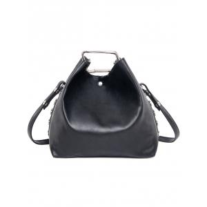PU Leather Magnetic Metal Shoulder Bag - BLACK