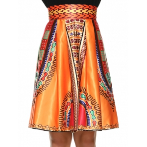 Vintage Knee-Length African Skirt -